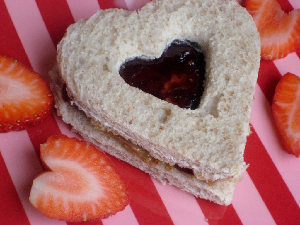 Heart cut out sandwich
